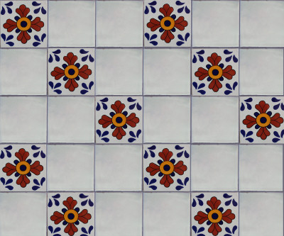 Blue Seville Talavera Mexican Tile Close-Up