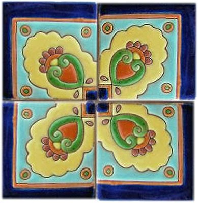 Alhambra Concha Corner Talavera Mexican Tile Close-Up
