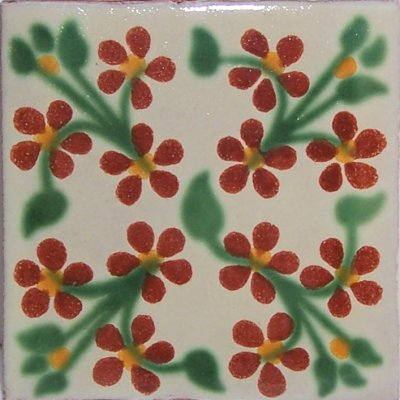 Red Violets Talavera Mexican Tile