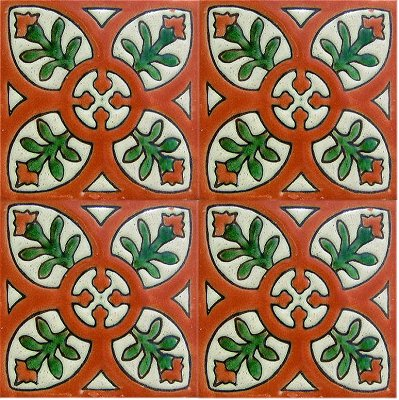 Alhambra Terracota Perpignan Talavera Mexican Tile Close-Up
