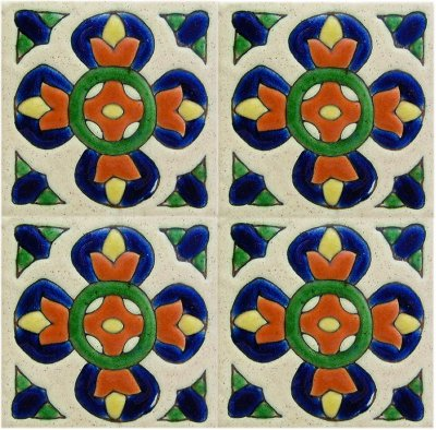 Alhambra Sevilla 2 Talavera Mexican Tile Close-Up