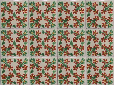 Red Violets Talavera Mexican Tile Close-Up