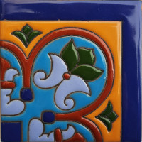 Corner Aqua Raised Talavera Mexican Tile