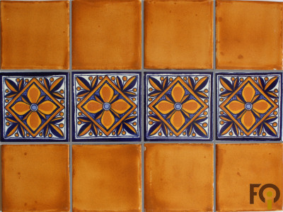 Mustard Talavera Mexican Tile Close-Up