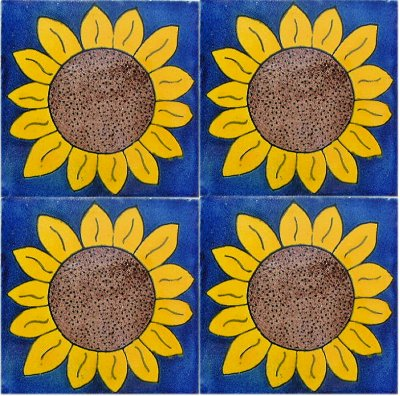 Big Sunflower Talavera Mexican Tile Close-Up