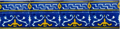 Blue Mayan Talavera Mexican Tile Close-Up