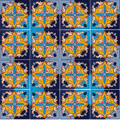 Aqua Fire Talavera Mexican Tile Close-Up