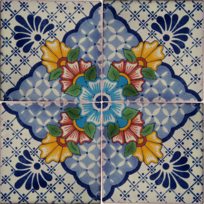 Blue Mesh Talavera Mexican Tile Close-Up