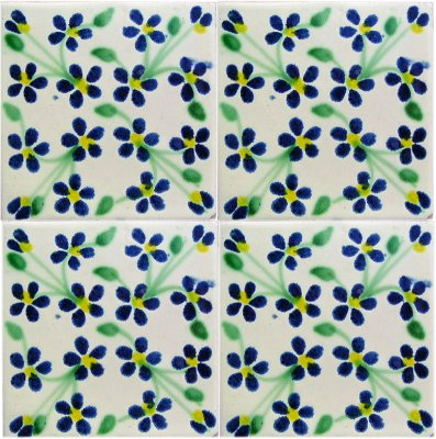 Blue Violets Talavera Mexican Tile Close-Up
