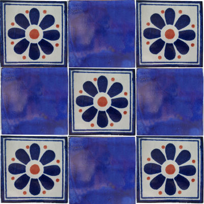 Blue Daisy Talavera Mexican Tile Close-Up