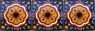 Full Concha Flower Talavera Mexican Tile Details