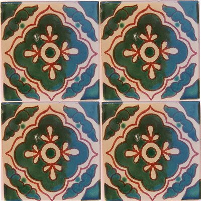 Green Toledo Talavera Mexican Tile Close-Up