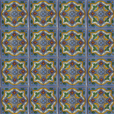 Sky Talavera Mexican Tile Close-Up