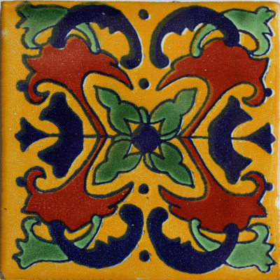 Yellow Butterfly Talavera Mexican Tile