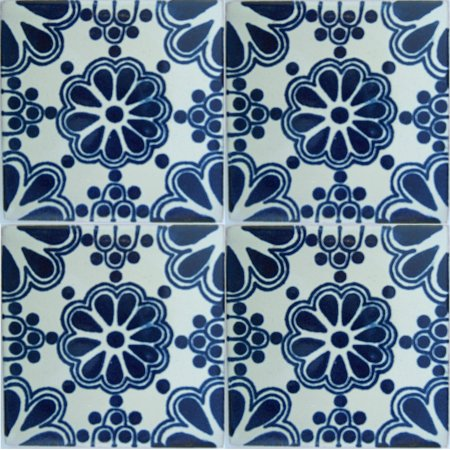 Blue Bouquet Talavera Mexican Tile Close-Up