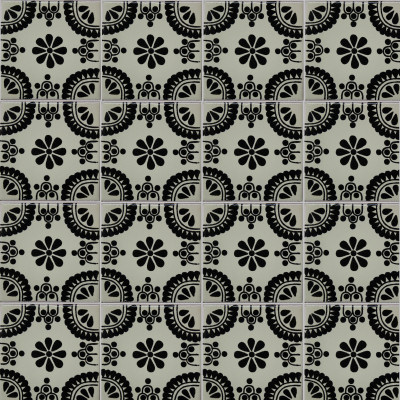 Black Madrid Talavera Mexican Tile - Black and white talavera tile