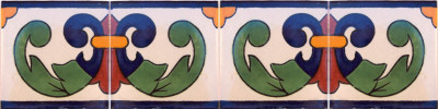 Right Green Greca Talavera Mexican Tile Close-Up