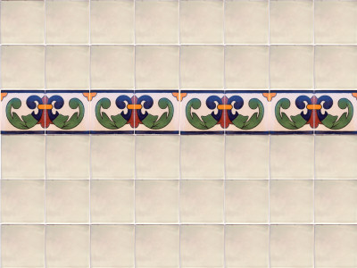 Right Green Greca Talavera Mexican Tile Details