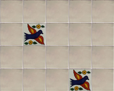 Sparrow Talavera Mexican Tile Close-Up