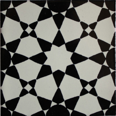 Marrakesh Talavera Mexican Tile - Black and white talavera tile