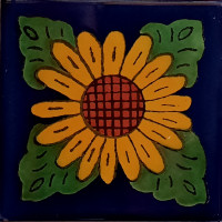 Four Leaves Sunflower Talavera Mexican Tile