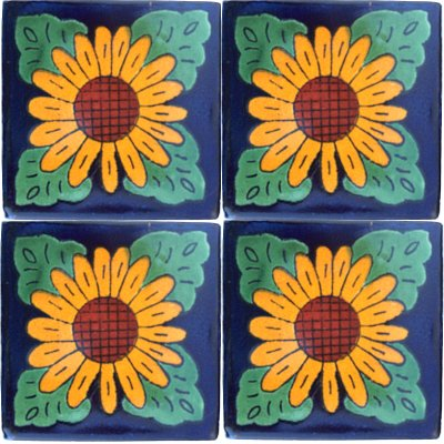 Four Leaves Sunflower Talavera Mexican Tile Close-Up
