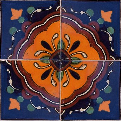 Concha Flower Talavera Mexican Tile Close-Up