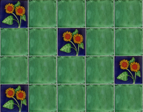 Double Sunflower Talavera Mexican Tile Close-Up