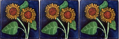 Double Sunflower Talavera Mexican Tile Details