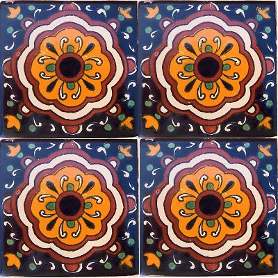 Concha Flower II Talavera Mexican Tile Close-Up