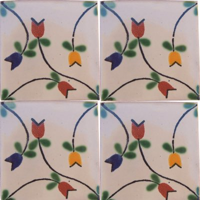 Tulips Bower Talavera Mexican Tile Close-Up