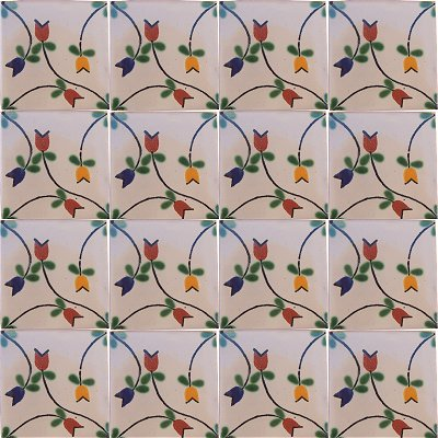 Tulips Bower Talavera Mexican Tile Details