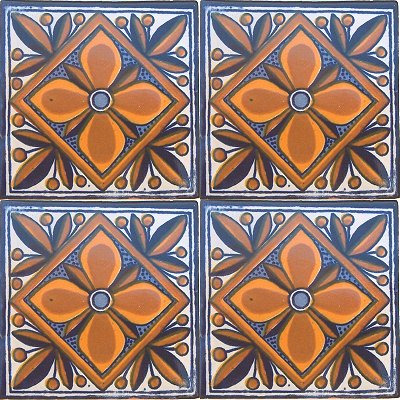 Mendoza Talavera Mexican Tile Close-Up