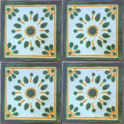 Garden Talavera Mexican Tile Close-Up