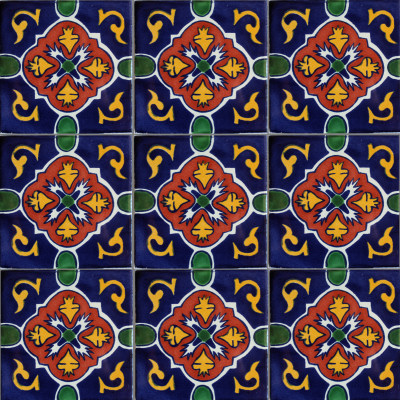 Blue Granada Talavera Mexican Tile Close-Up
