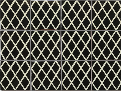 Black Diamonds Talavera Mexican Tile - Black and white talavera tile