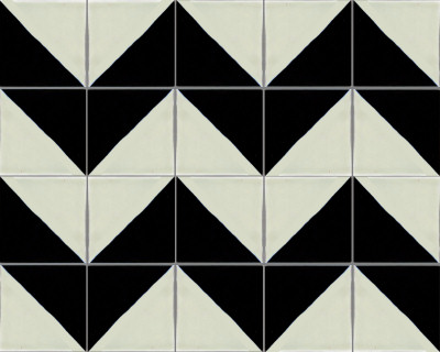 Black Harlequin Talvara Mexican Tile - Black and white talavera tile