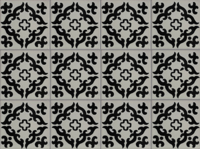 Black Barroco Talavera Mexican Tile - Black and white talavera tile