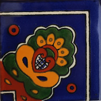 Blue Royal Crown Talavera Mexican Corner Tile