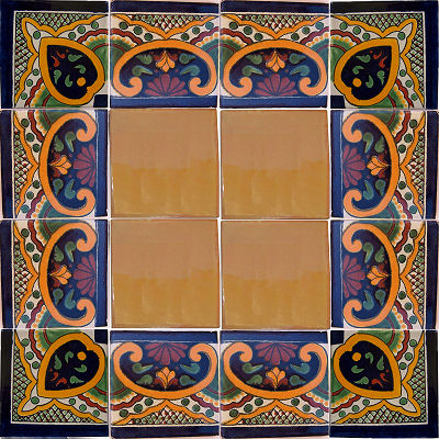 Greca C Talavera Mexican Corner Tile Close-Up