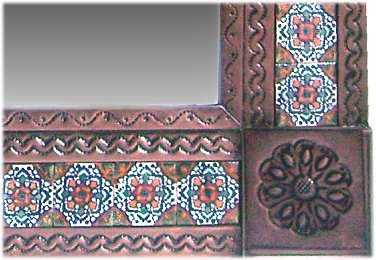 Small Brown Gerona Mexican Tile Mirror Close-Up