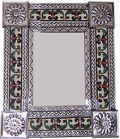 Small Silver Greca Ii Mexican Tile Mirror