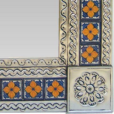 Small Silver Marigold Tile Talavera Tin Mirror Close Up