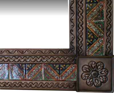 Small Brown Morelia Tile Talavera Tin Mirror Close-Up