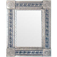 Medium Silver Greca Tile Talavera Tin Mirror
