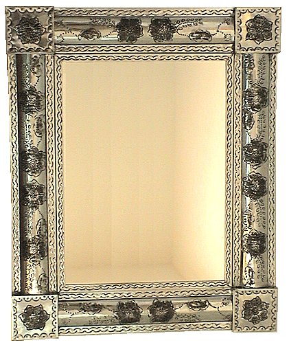 White Flower Embossed Tin Mirror