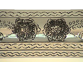 White Flower Embossed Tin Mirror Details