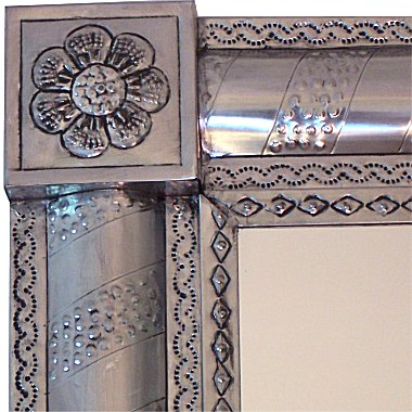 Silver Strips Vertical Post Talavera Tin Mirror Details