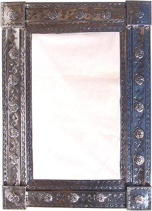 Mission Silver Embossed Tin Mirror