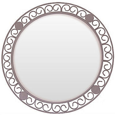 Circular Beveled Wrought Iron Mirror